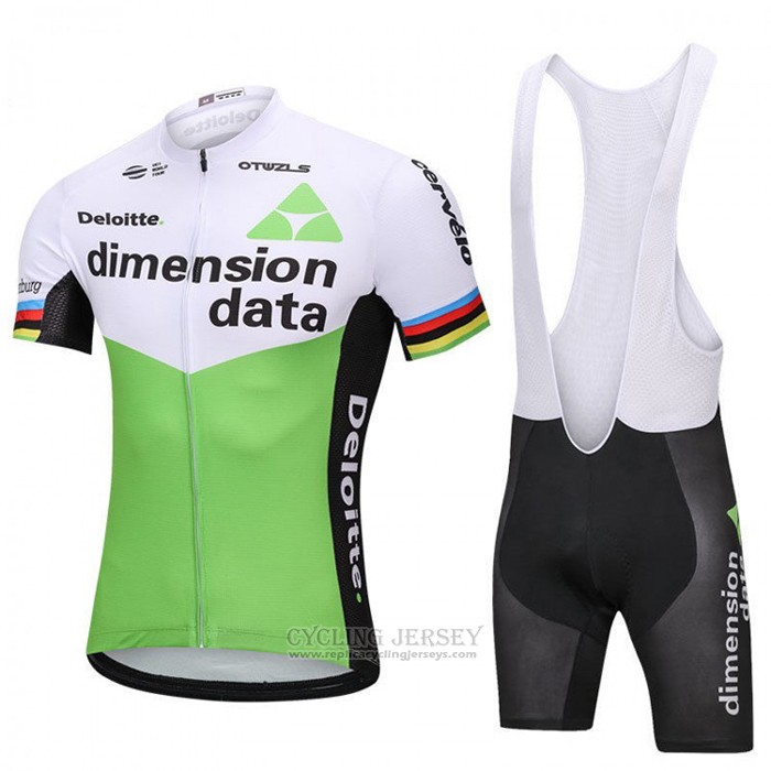 2018 Cycling Jersey UCI World Champion Dimension Data Green Short Sleeve and Bib Short