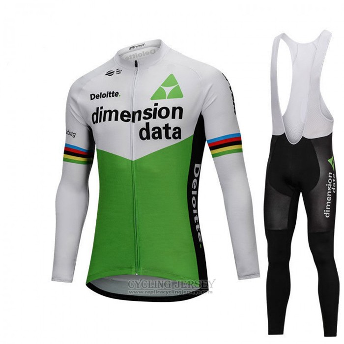 2018 Cycling Jersey UCI World Champion Dimension Date Green Long Sleeve and Bib Tight