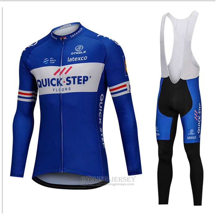 2018 Cycling Jersey UCI World Champion Quick Step Floors Blue Long Sleeve and Bib Tight