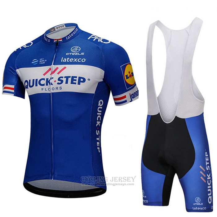 2018 Cycling Jersey UCI World Champion Quick Step Floors Blue Short Sleeve and Bib Short