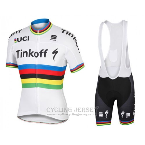 2016 Cycling Jersey UCI World Champion Tinkoff White Short Sleeve and Bib Short