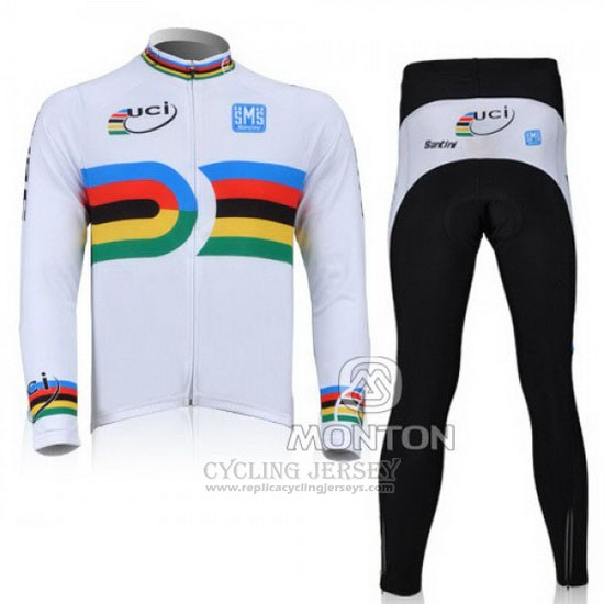 2010 Cycling Jersey Santini UCI World Champion Lider White Long Sleeve and Bib Tight