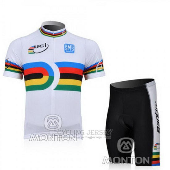 2010 Cycling Jersey Santini UCI World Champion Lider White Short Sleeve and Bib Short