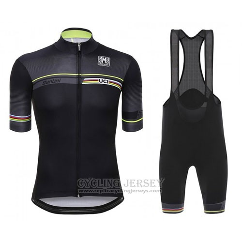 2016 Cycling Jersey Santini UCI World Champion Lider Black Short Sleeve and Bib Short