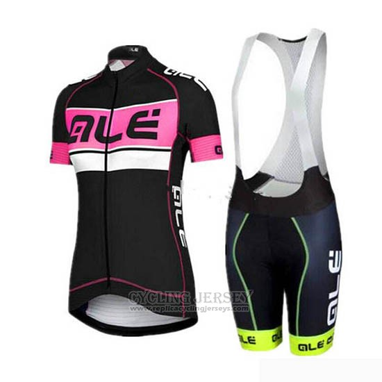 2019 Cycling Jersey Women ALE Black Pink Short Sleeve and Bib Short