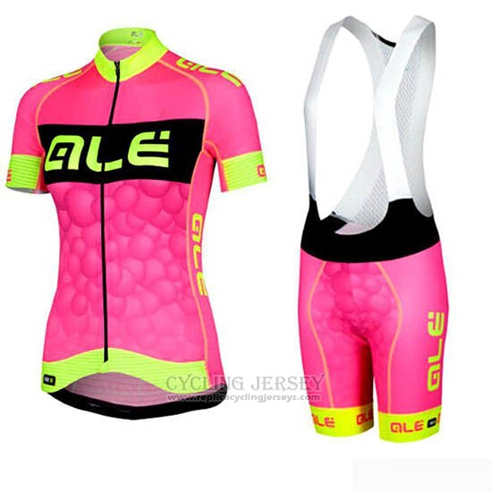2019 Cycling Jersey Women ALE Pink Black Short Sleeve and Bib Short