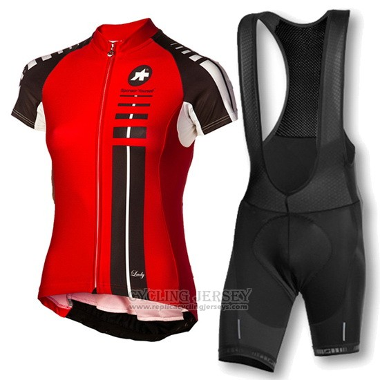 2016 Cycling Jersey Women Assos Black and Red Short Sleeve and Bib Short