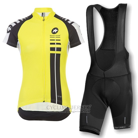 2016 Cycling Jersey Women Assos Black and Yellow Short Sleeve and Bib Short