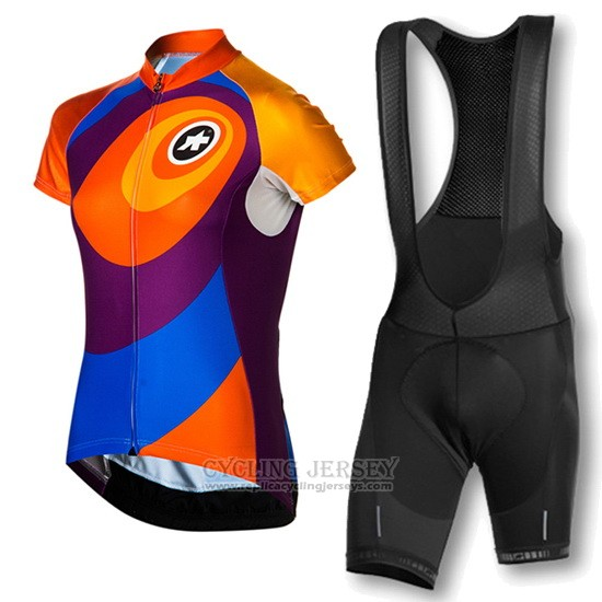 2016 Cycling Jersey Women Assos Orange and Blue Short Sleeve and Bib Short
