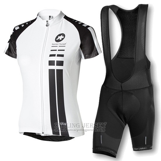 2016 Cycling Jersey Women Assos White and Black Short Sleeve and Bib Short