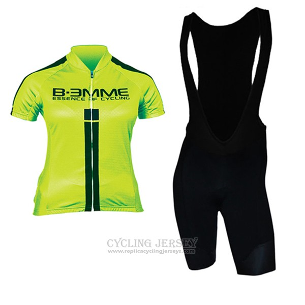 2017 Cycling Jersey Women Biemme Green and Black Short Sleeve and Bib Short