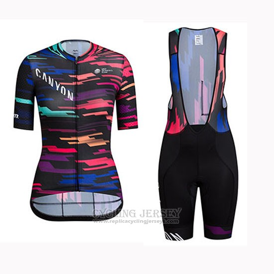 2019 Cycling Jersey Women Canyon Sram Black Red Short Sleeve and Bib Short