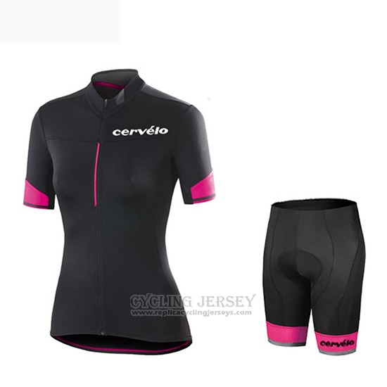 2019 Cycling Jersey Women Cervelo Black Red Short Sleeve and Bib Short