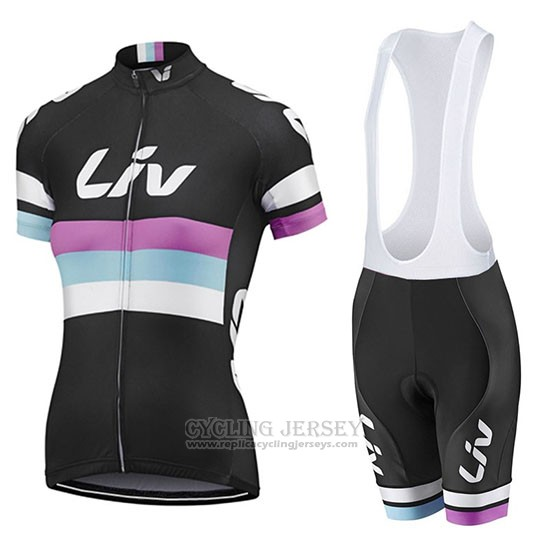 2019 Cycling Jersey Women Liv Black White Purple Short Sleeve and Bib Short