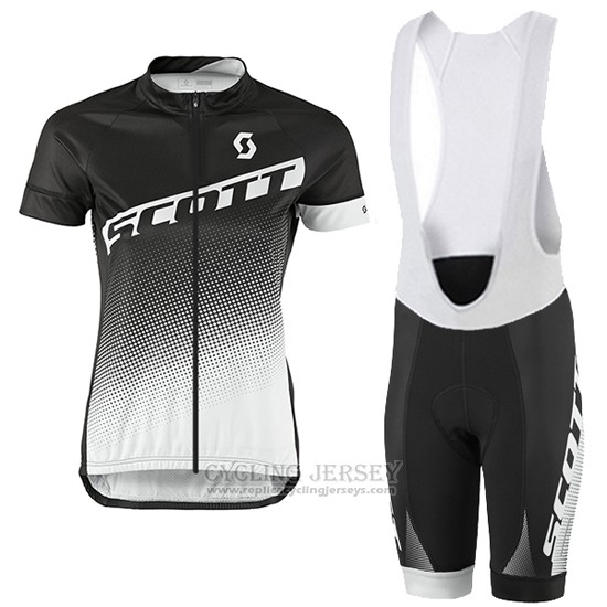 2016 Cycling Jersey Women Scott Black and Gray Short Sleeve and Bib Short