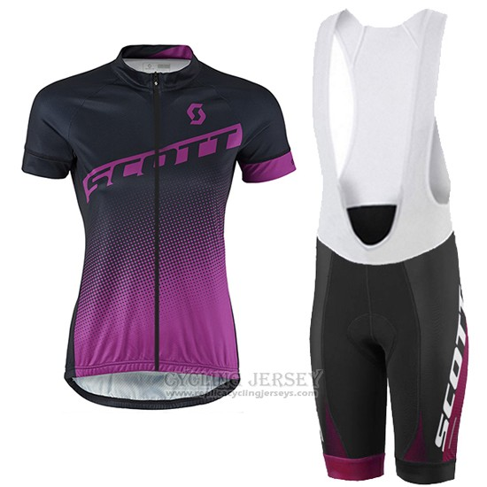 2016 Cycling Jersey Women Scott Black and Red Short Sleeve and Bib Short