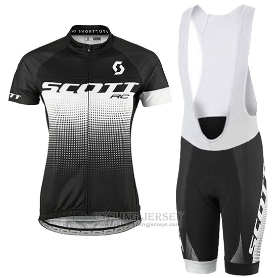 2016 Cycling Jersey Women Scott Black and White Short Sleeve and Bib Short