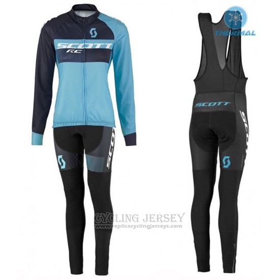 2016 Cycling Jersey Women Scott Blue and Black Long Sleeve and Bib Tight