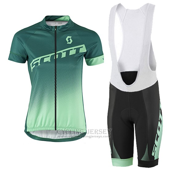 2016 Cycling Jersey Women Scott Green and White Short Sleeve and Bib Short