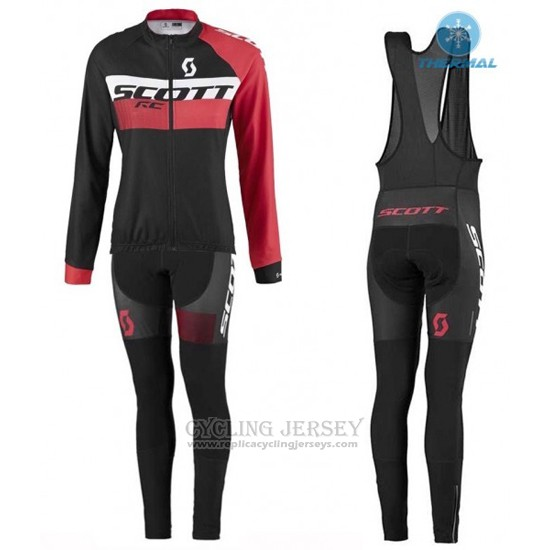 2016 Cycling Jersey Women Scott Red and Black Long Sleeve and Bib Tight