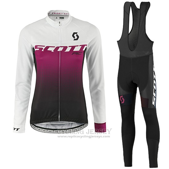 2016 Cycling Jersey Women Scott Red and White Long Sleeve and Bib Tight