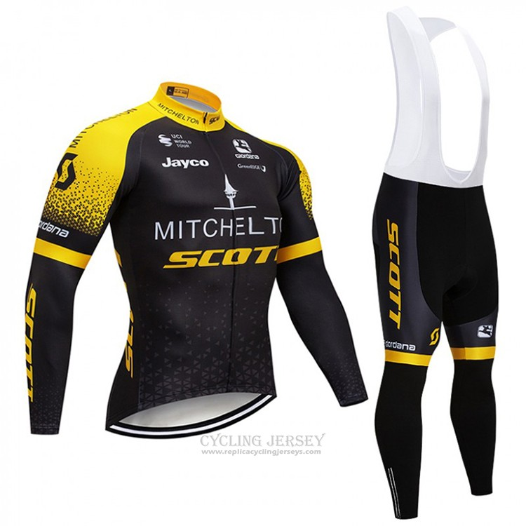 2018 Cycling Jersey Scott Black and Yellow Long Sleeve and Bib Tight