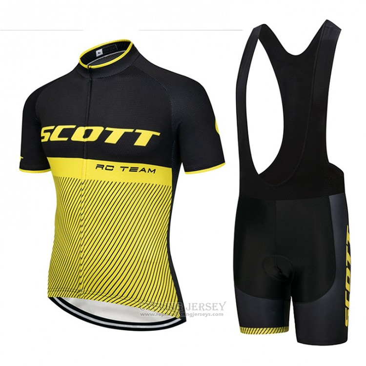 2018 Cycling Jersey Scott Black and Yellow Short Sleeve and Bib Short