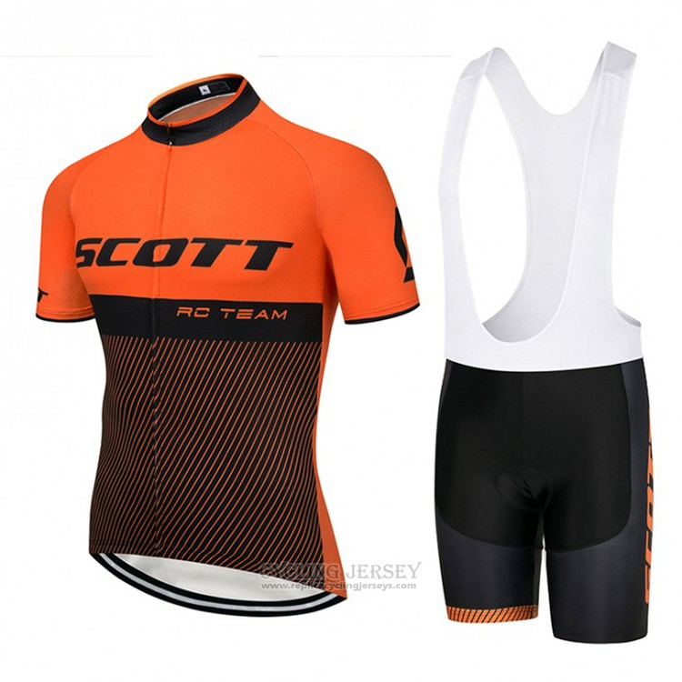 2018 Cycling Jersey Scott Orange and Black Short Sleeve and Bib Short