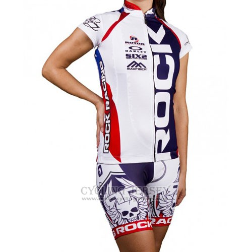2016 Cycling Jersey Rock Racing White and Blue Short Sleeve and Bib Short