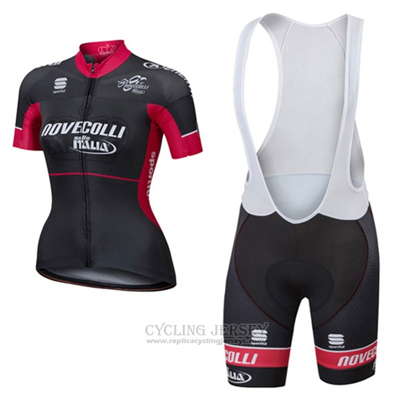 2017 Cycling Jersey Women Nove Colli Black and Red Short Sleeve and Bib Short