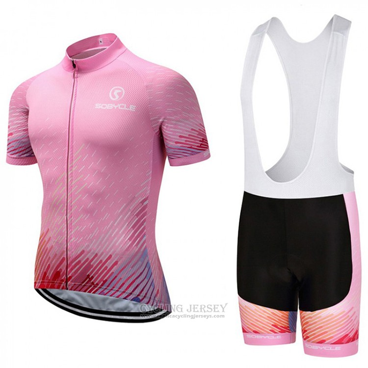 2018 Cycling Jersey Sobycle Pink Short Sleeve and Bib Short