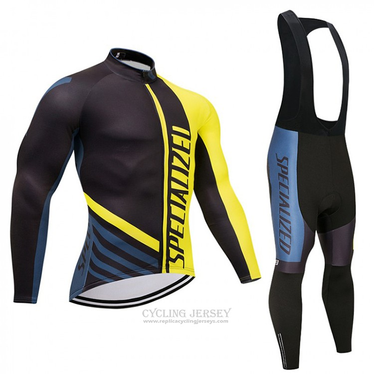 2018 Cycling Jersey Specialized Black and Yellow Long Sleeve and Bib Tight