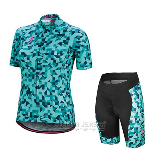 2018 Cycling Jersey Women Specialized Green Short Sleeve and Bib Short